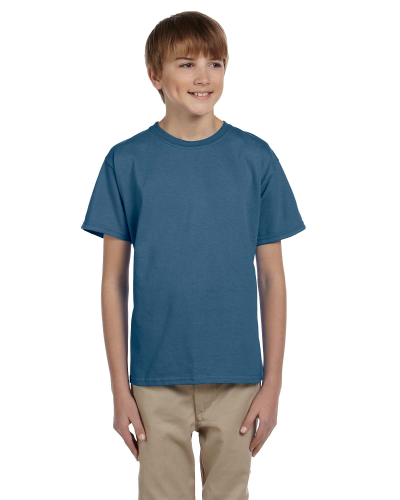 Indigo Blue Youth Premium Ultra Cotton T as seen from the front