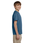 Indigo Blue Youth Premium Ultra Cotton T as seen from the sleeveleft