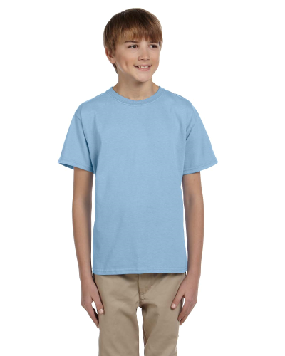 Light Blue Youth Premium Ultra Cotton T as seen from the front