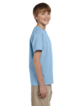 Light Blue Youth Premium Ultra Cotton T as seen from the sleeveleft