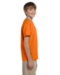 Safety Orange Youth Premium Ultra Cotton T as seen from the sleeveleft