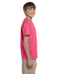 Safety Pink Youth Premium Ultra Cotton T as seen from the sleeveleft