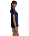 Navy Ladies' Premium Ultra Cotton T as seen from the sleeveleft