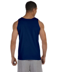 Navy Premium Cotton Tank as seen from the back