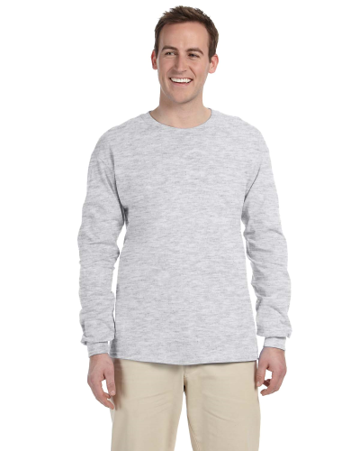 Ash Grey 6.1 oz. Ultra Cotton® Long-Sleeve T-Shirt as seen from the front