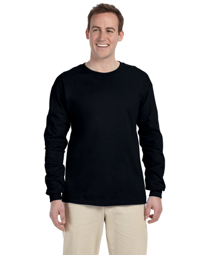 Black 6.1 oz. Ultra Cotton® Long-Sleeve T-Shirt as seen from the front