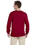 Cardinal Red 6.1 oz. Ultra Cotton® Long-Sleeve T-Shirt as seen from the back