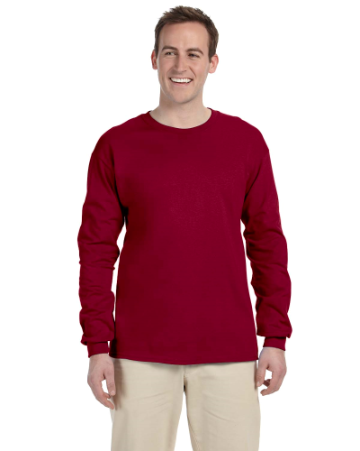 Cardinal Red 6.1 oz. Ultra Cotton® Long-Sleeve T-Shirt as seen from the front