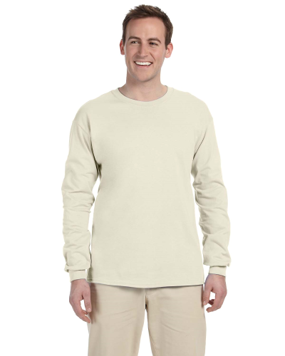 Natural 6.1 oz. Ultra Cotton® Long-Sleeve T-Shirt as seen from the front