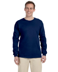 Navy 6.1 oz. Ultra Cotton® Long-Sleeve T-Shirt as seen from the front