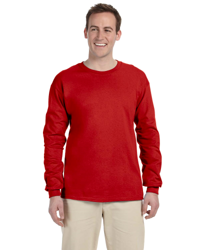 Red 6.1 oz. Ultra Cotton® Long-Sleeve T-Shirt as seen from the front