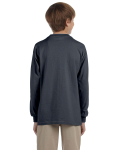 Charcoal Youth 6.1 oz. Ultra Cotton® Long-Sleeve T-Shirt as seen from the back