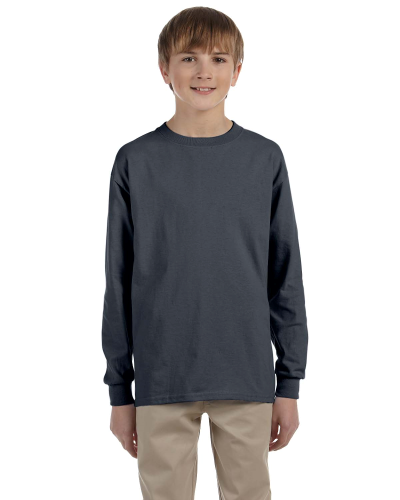 Charcoal Youth 6.1 oz. Ultra Cotton® Long-Sleeve T-Shirt as seen from the front
