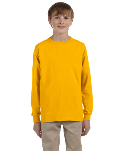 Gold Youth 6.1 oz. Ultra Cotton® Long-Sleeve T-Shirt as seen from the front
