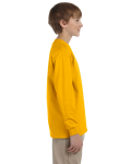 Gold Youth 6.1 oz. Ultra Cotton® Long-Sleeve T-Shirt as seen from the sleeveleft