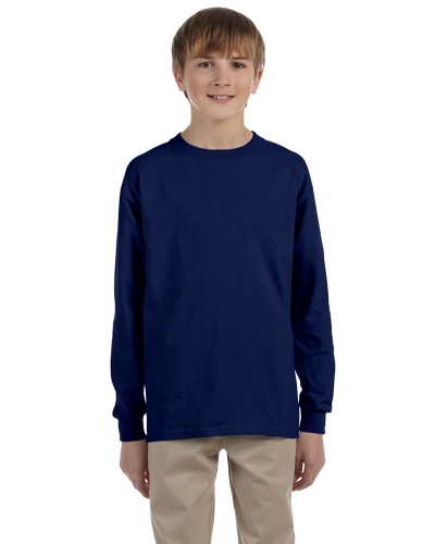 Navy Youth 6.1 oz. Ultra Cotton® Long-Sleeve T-Shirt as seen from the front