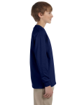 Navy Youth 6.1 oz. Ultra Cotton® Long-Sleeve T-Shirt as seen from the sleeveleft
