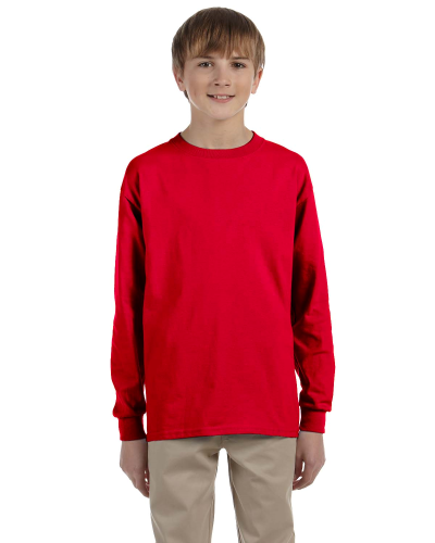 Red Youth 6.1 oz. Ultra Cotton® Long-Sleeve T-Shirt as seen from the front