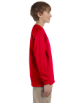 Red Youth 6.1 oz. Ultra Cotton® Long-Sleeve T-Shirt as seen from the sleeveleft