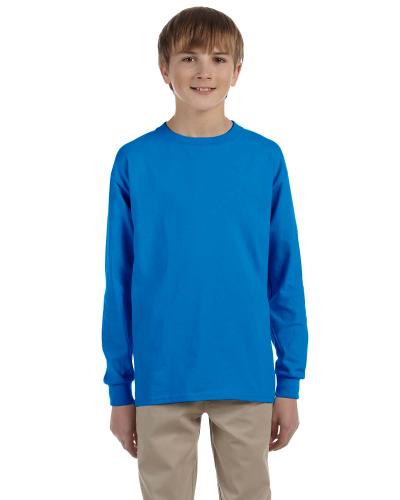 Sapphire Youth 6.1 oz. Ultra Cotton® Long-Sleeve T-Shirt as seen from the front