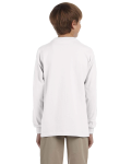White Youth 6.1 oz. Ultra Cotton® Long-Sleeve T-Shirt as seen from the back