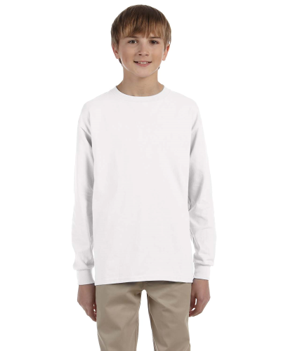 White Youth 6.1 oz. Ultra Cotton® Long-Sleeve T-Shirt as seen from the front
