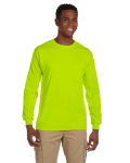 Safety Green Ultra Cotton® 6 oz. Long-Sleeve Pocket T-Shirt as seen from the front