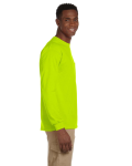 Safety Green Ultra Cotton® 6 oz. Long-Sleeve Pocket T-Shirt as seen from the sleeveleft