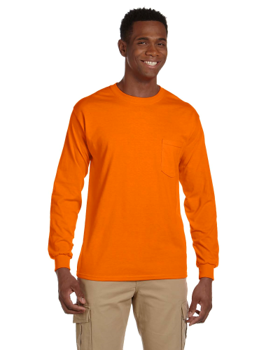 Safety Orange Ultra Cotton® 6 oz. Long-Sleeve Pocket T-Shirt as seen from the front