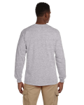 Sport Grey Ultra Cotton® 6 oz. Long-Sleeve Pocket T-Shirt as seen from the back