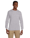 Sport Grey Ultra Cotton® 6 oz. Long-Sleeve Pocket T-Shirt as seen from the front