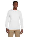 White Ultra Cotton® 6 oz. Long-Sleeve Pocket T-Shirt as seen from the front