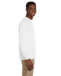 White Ultra Cotton® 6 oz. Long-Sleeve Pocket T-Shirt as seen from the sleeveleft