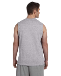 Sport Grey Ultra Cotton® 6 oz. Sleeveless T-Shirt as seen from the back