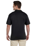 Black Ultra Cotton® 6 oz. Jersey Polo as seen from the back