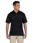 Black Ultra Cotton® 6 oz. Jersey Polo as seen from the front