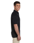 Black Ultra Cotton® 6 oz. Jersey Polo as seen from the sleeveleft