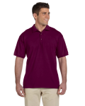 Maroon Ultra Cotton® 6 oz. Jersey Polo as seen from the front
