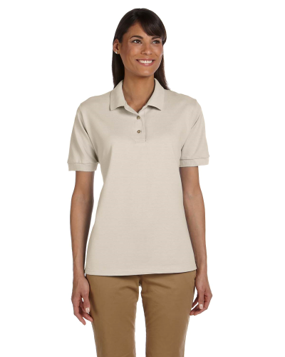Sand Ladies' 6.5 oz. Ultra Cotton® Piqué Polo as seen from the front