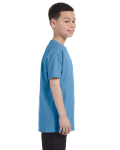 Carolina Blue Classic Cotton  Youth T as seen from the sleeveleft