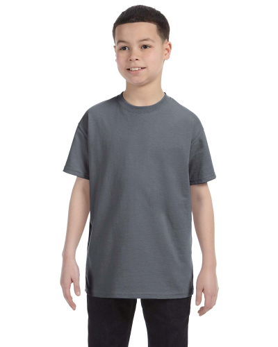 Charcoal Classic Cotton  Youth T as seen from the front
