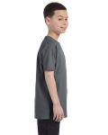 Charcoal Classic Cotton  Youth T as seen from the sleeveleft