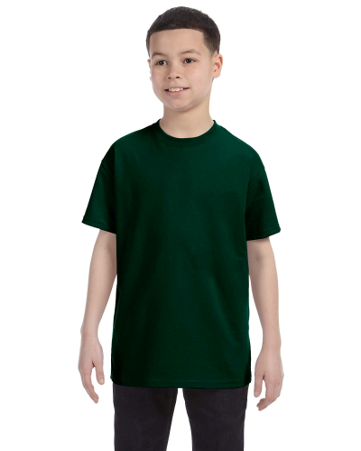 Forest Green Classic Cotton  Youth T as seen from the front