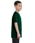 Forest Green Classic Cotton  Youth T as seen from the sleeveleft