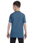 Indigo Blue Classic Cotton  Youth T as seen from the back