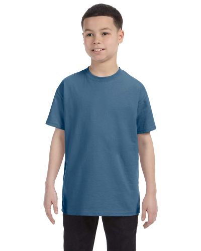 Indigo Blue Classic Cotton  Youth T as seen from the front