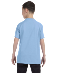 Light Blue Classic Cotton  Youth T as seen from the back