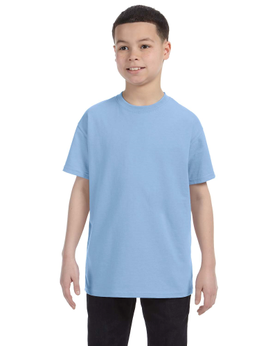 Light Blue Classic Cotton  Youth T as seen from the front
