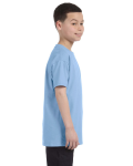 Light Blue Classic Cotton  Youth T as seen from the sleeveleft