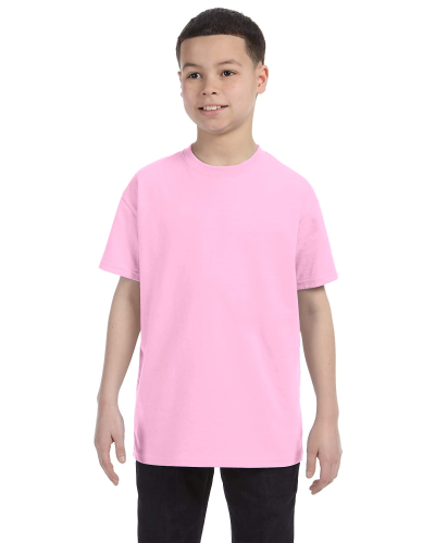 Light Pink Classic Cotton  Youth T as seen from the front